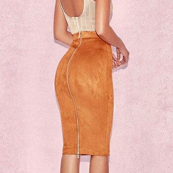 ih Women High Waist Suede Bodycon Midi Skirts Faux Leather Zipper Pencil Skirt Office Lady Elegant Wear 2019 Spring New Fashion 1