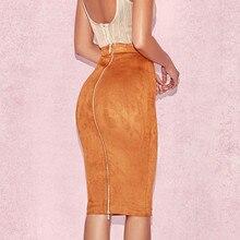 Ih נשים גבוהה מותן זמש Bodycon Midi חצאיות פו עור רוכסן עיפרון חצאית משרד ליידי אלגנטי ללבוש 2019 אביב חדש אופנה