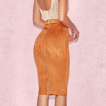 ih Women High Waist Suede Bodycon Midi Skirts Faux Leather Zipper Pencil Skirt Office Lady Elegant Wear 2019 Spring New Fashion