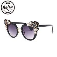 Селла Новинка Cateye Акрил Diamond солнцезащитные очки модные женские туфли негабаритных красочные элегантные солнцезащитные очки UV400