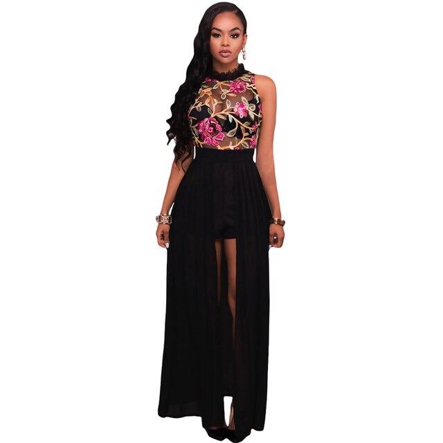 9634e0a58 Las nuevas mujeres 2017 flor bordada Vestidos elegante malla de gasa largo  eving vestido Bayan vestidos