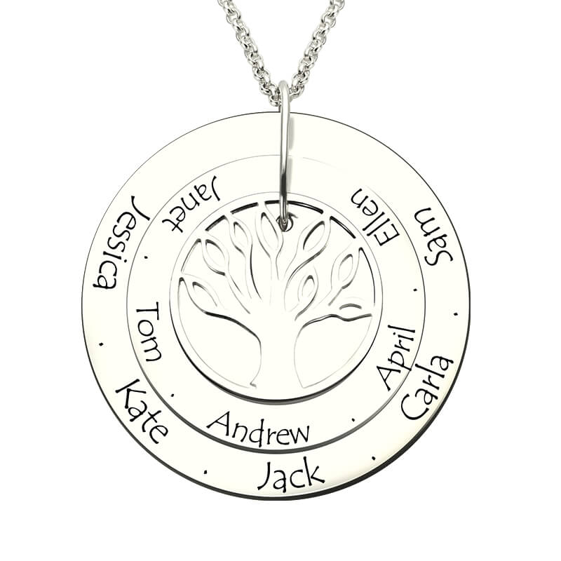 AILIN Personalized Family Tree Necklace Engraved Silver Disc with Names Hand Stamped Layered Family Tree Disc
