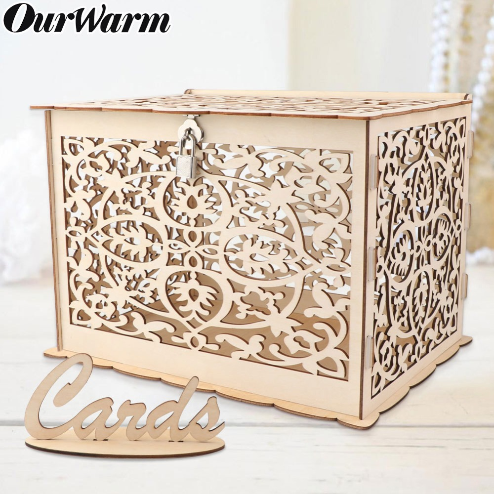 OurWarm Wedding Card Box Baby Shower Decorations Vintage Card Box with Lock DIY Money Box Wooden
