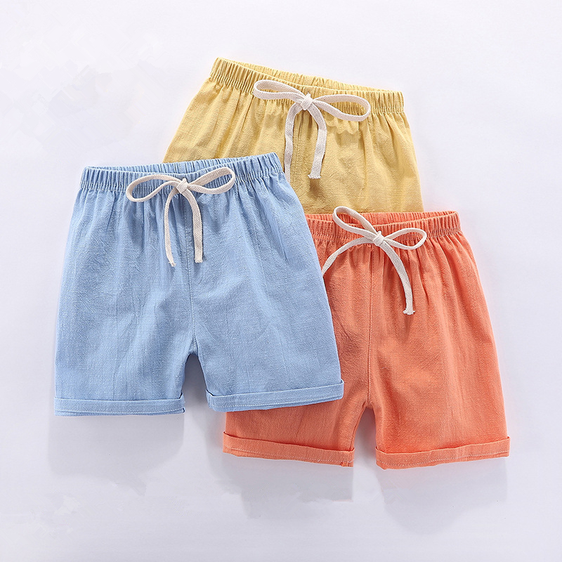 Kids   Shorts   2019 Summer Elastic Waist Loose Children   Short   Pants Fashion Pink Linen Baby Boys Beach   Shorts   Kid Clothing For 3-9Y