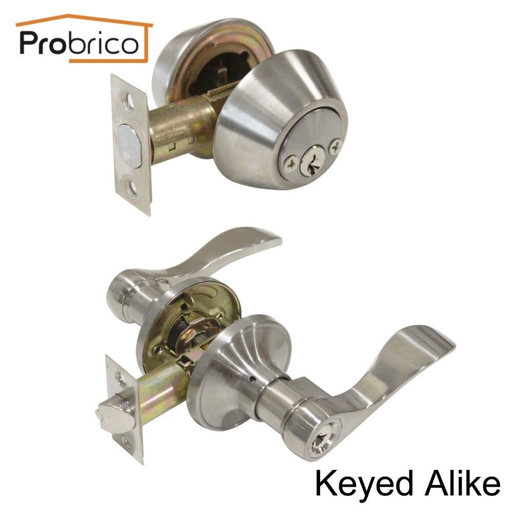 ФОТО Probrico Stainless Steel Keyed Alike Entrance Door Lock With Two Sides Deadbolt Satin Nickel Door Handle Knob DL12061ET-102SN