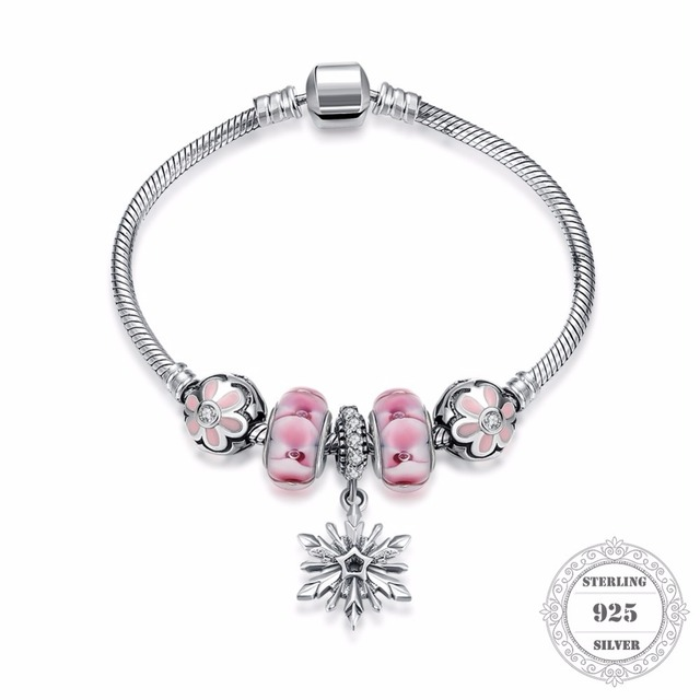 HEMISTON 925 Sterling Silver Pink Flower Charm Bracelets with Snowflake for Women Fine Jewelry Original Gift PAB009
