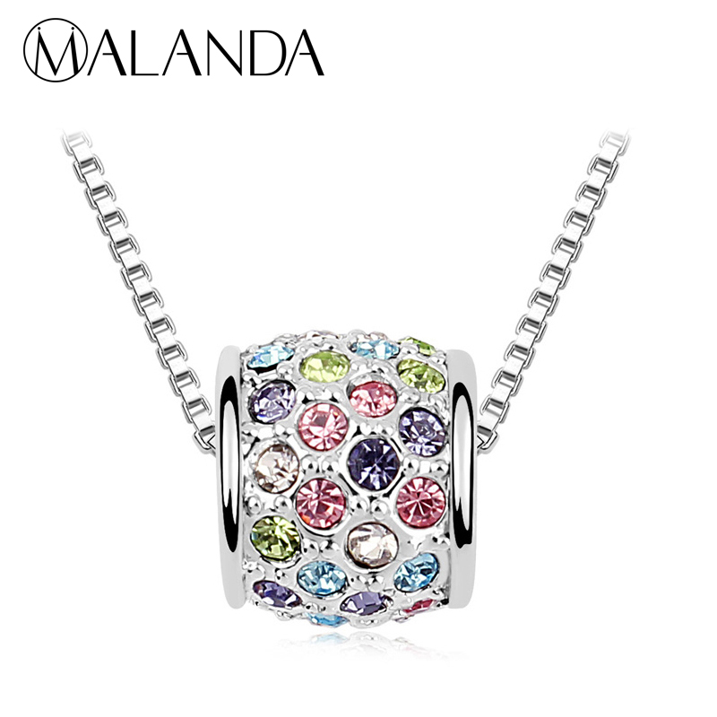 MALANDA Brand Circular Pendant Necklaces For Women Round Crystals From Swarovski Necklaces Wedding Jewelry Accessories Girl Gift все цены