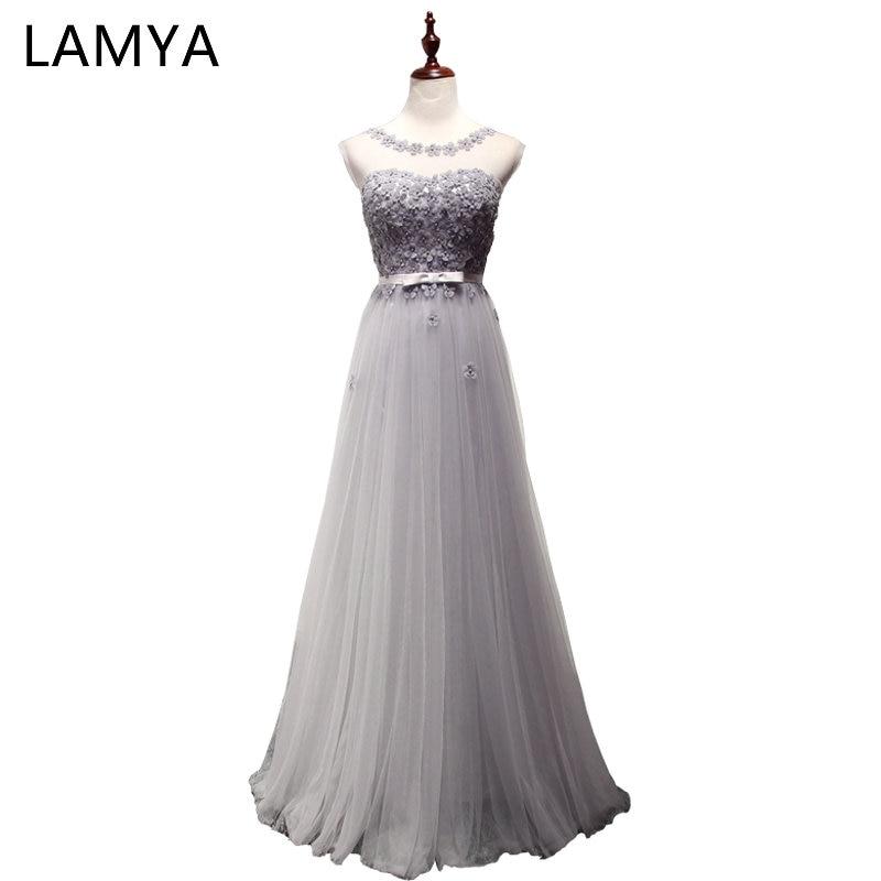 LAMYA 7 Colors Appliques   Evening     Dresses   Elegant Long Tulle Prom Party   Dress   Discount Plus Size Gowns For Women vestido de noiva