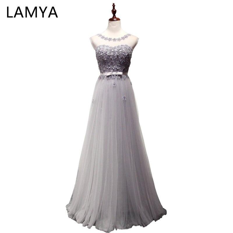 LAMYA 7 couleurs Appliques robes de soirée élégant Long Tulle robe de bal de promo robes de grande taille pour les femmes vestido de noiva