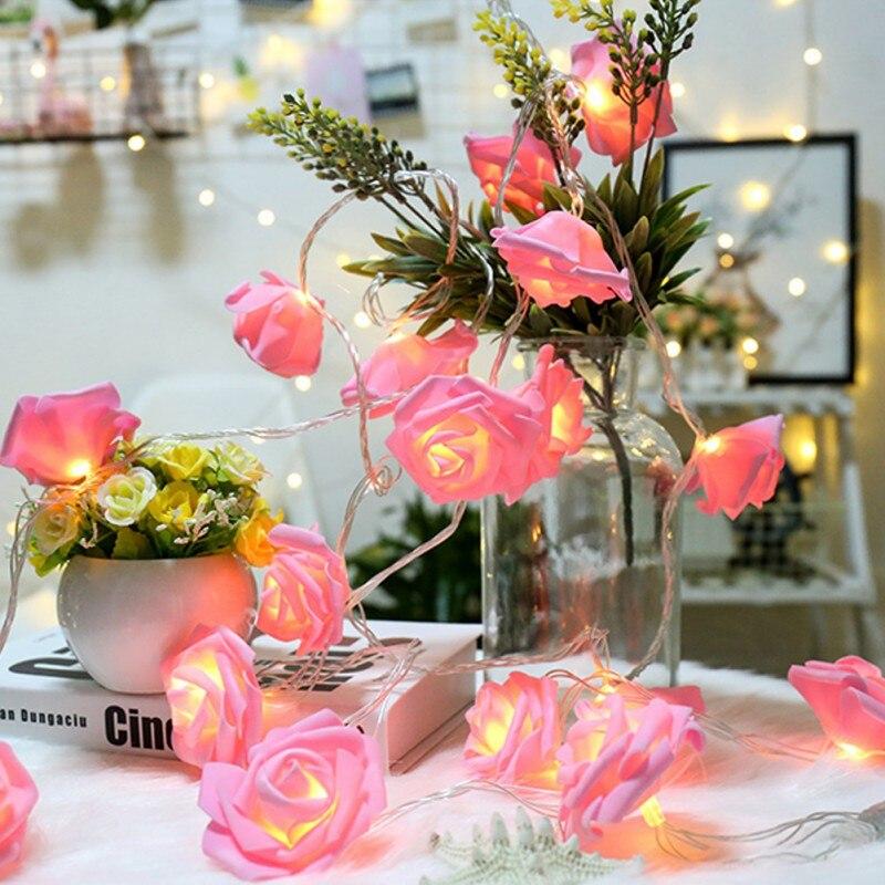2019 Christmas Holiday Lighting LED Rose Light String Christmas Day Wedding Decor Simulation Rose Flower Battery Light String