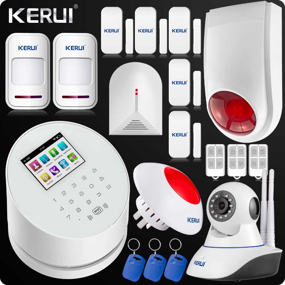 KERUI W2 Wireless WIFI Alarm System GSM PSTN Home Security 433MHz Wireless Flash Outdoor/Indoor Siren + Motion PIR Detector yobangsecurity home gsm pstn alarm system 433mhz voice prompt lcd keyboard wireless alarma gsm with outdoor siren flash