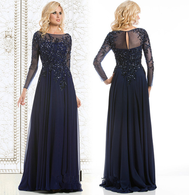 Elegant 2016 Navy Blue Evening Gowns Boat Neck Beaded Lace ...