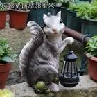 Garden Decor Courtyard Squirrel Holding A Solar Lantern Lamps Garden Park Outdoor Landscape Sculpture Resin Animal Sculpture - 3