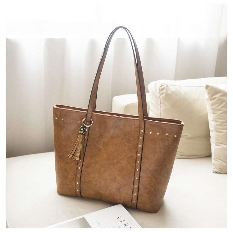 Rivet Leather Women Tote Handbag 23
