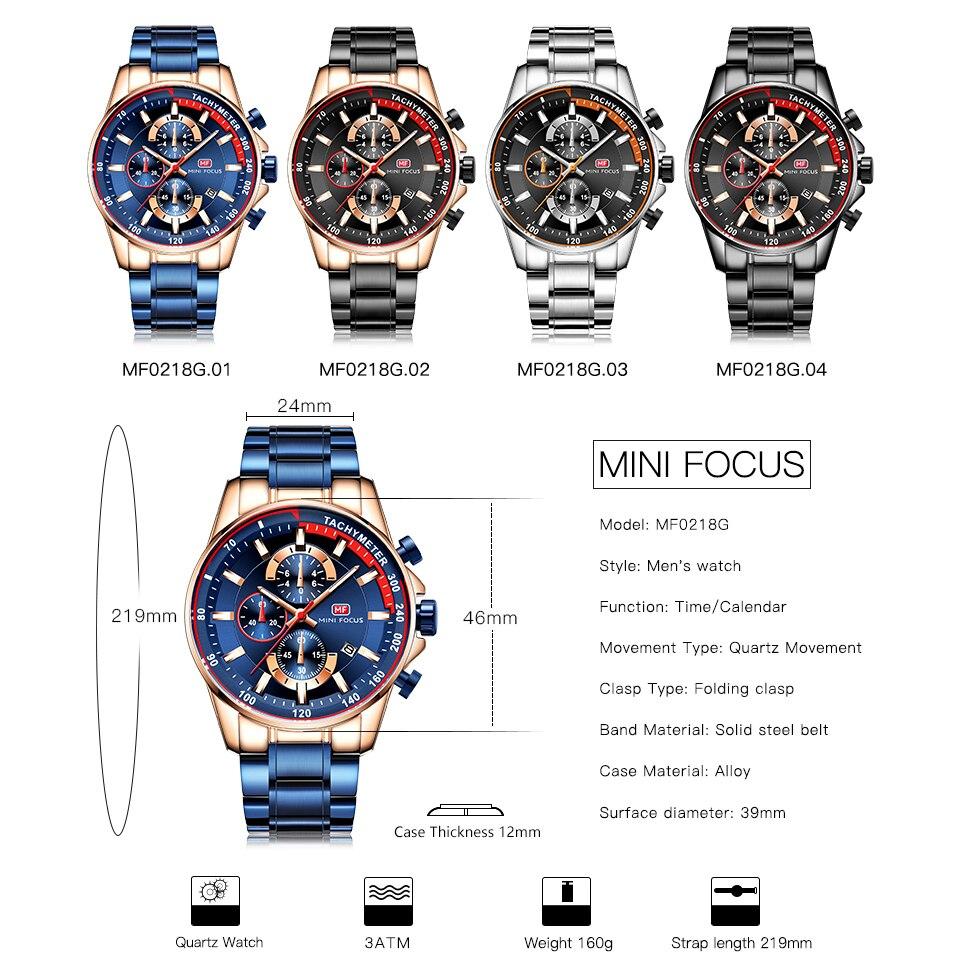 Image 2 - Топ бренд Роскошные Синие кварцевые часы для мужчин Мини фокус многофункциональный хронограф спортивные модные наручные часы водонепроницаемые часы 2019Кварцевые часы   -