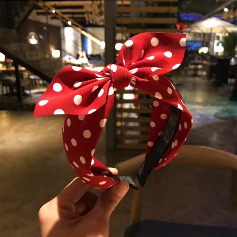 Fashion hair accessories woman's wave point knotted bow headband cute toothed rabbit ears headband wild hair band   headwear   girl