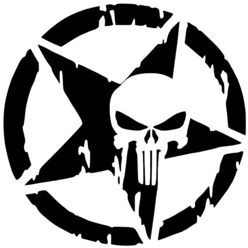 13x13CM The Punisher Skull Waterproof Reflective Material Car Sticker Pentagram Vinyl Decals Motorcycle Accessories Black/White