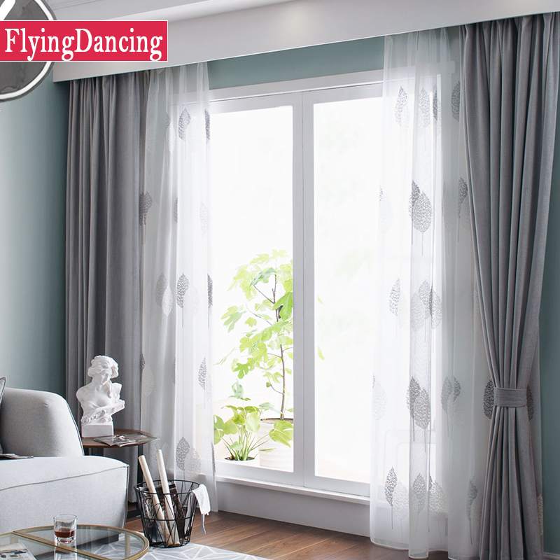 Nordic grey solid curtains for bedroom modern living room curtains white leaves embroider tulle for Grey bedroom window treatments