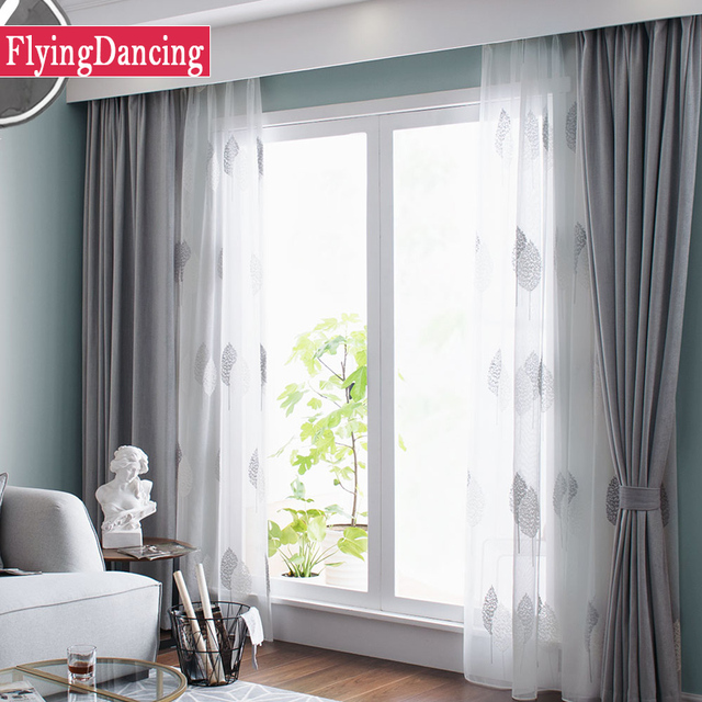 modern living room curtains coffee and end tables nordic grey solid for bedroom white leaves embroider tulle drapes window treatment