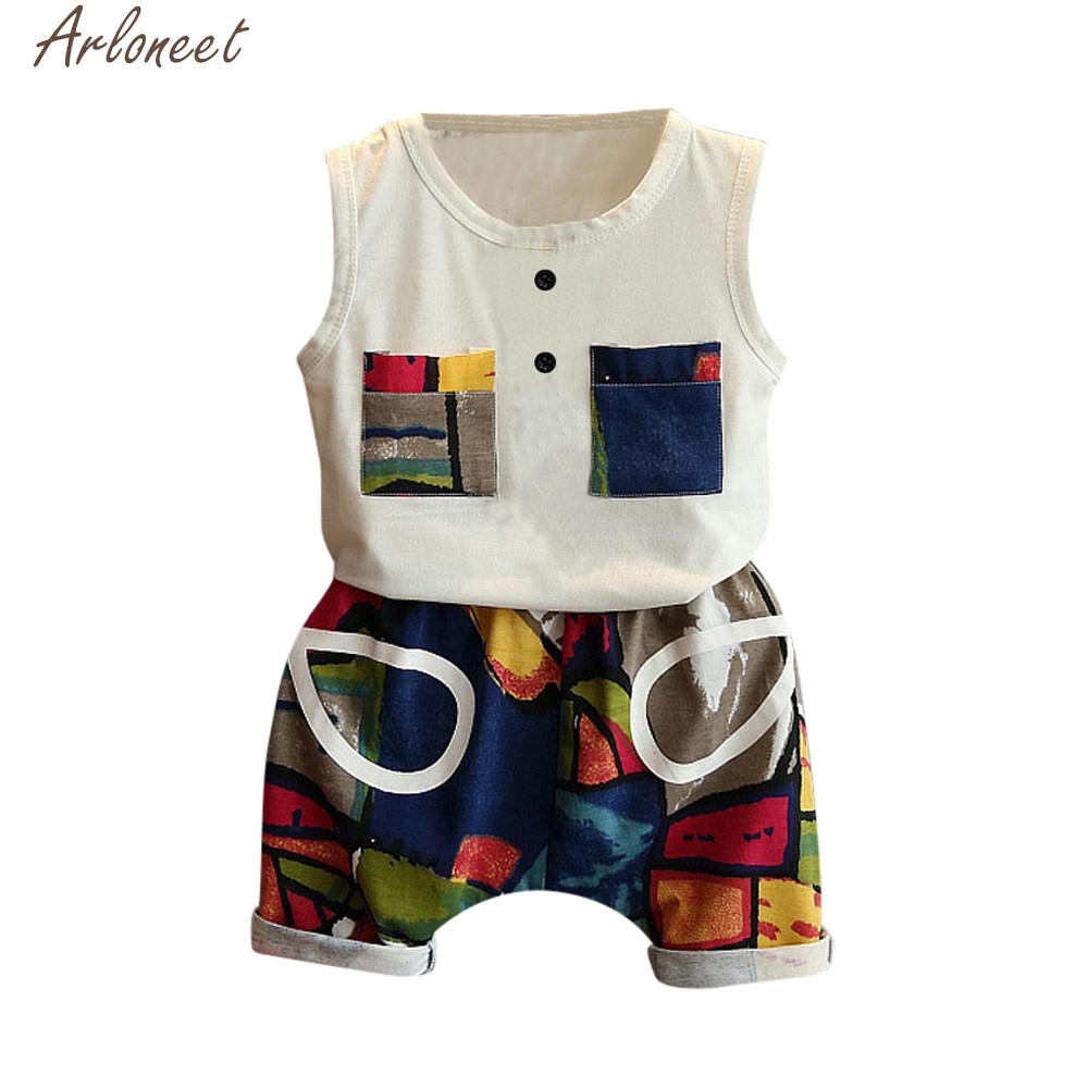 ARLONEET 2PCS Toddler Kids Baby Boys Summer Outfit Clothes T-shirt Vest+Shorts Set Short Sleeve Cute Suit May9 W20d30