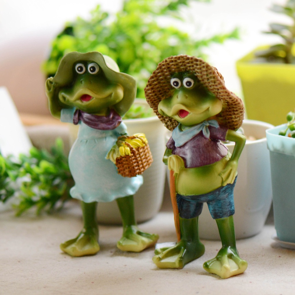 Decorative garden ornaments - 2pcs Set Resin Crafts Animal Decoration Cute Frog Decorative Garden Ornaments Photo Props China