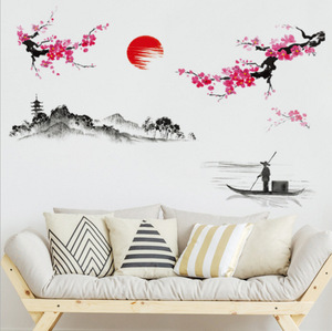 Image 2 - 중국 스타일 사쿠라 일본어 핑크 벚꽃 나무 장식 벽 스티커 장식