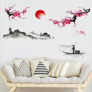 Image 2 - Chinese Style Sakura Japanese Pink Cherry Blossom Tree Decor Wall Sticker Decor