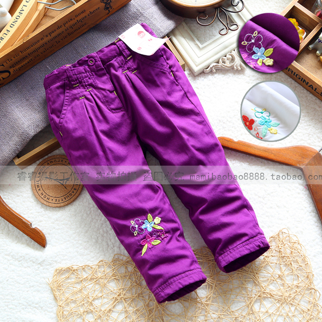Envío gratis nuevo 2014 otoño primavera ropa de bebé de las muchachas de las polainas del bebé pantalones bordados pantalones de los niños de los niños pantalones casuales