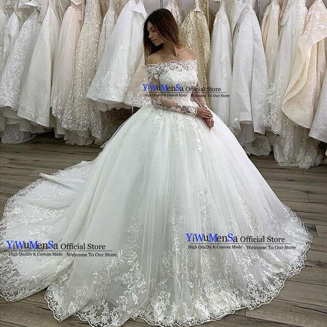 Boat Neck Long Sleeves Wedding Dress Robe De Mariee 2019 Appliques Lace Wedding Gowns Vestido De Novia Ball Gown Bride Dresses