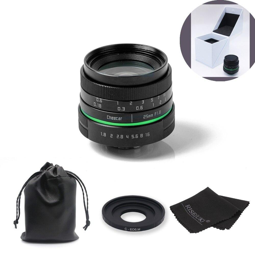 Nouvel objectif de caméra CCTV 25mm cercle vert pour Canon EOS M/M2/M3 avec anneau adaptateur c-eosm + cadeau + sac + grande boîte