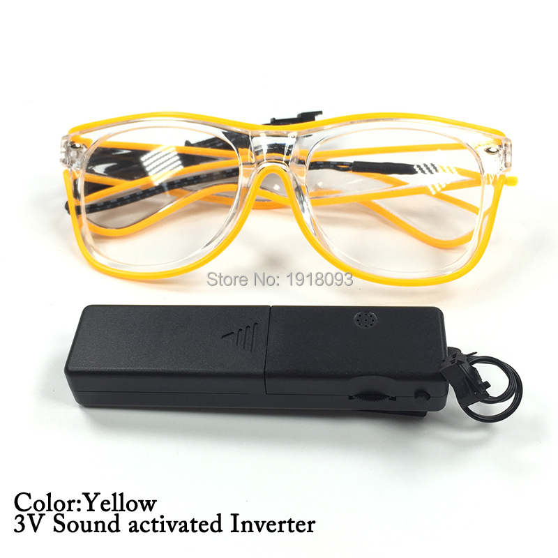 EL Wire Glasses With Transparent Frames DC-3V Sound Activated Driver Novelty Lighting Colorful Glasses 5pieces