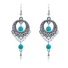 Ethnic Bohemia Drop Earrings For Women Silver Color Blue Beads Earring Big Long Tassel Statement Charm Vintage Jewelry(China)