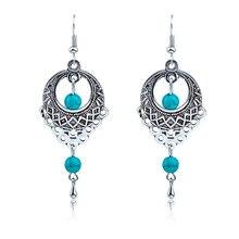 Ethnic Bohemia Drop Earrings For Women Silver Color Blue Beads Earring Big Long Tassel Statement Charm Vintage Jewelry