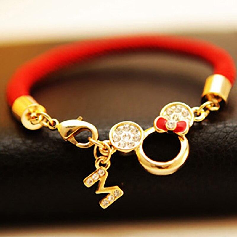 Bezmaksas piegāde Jaunie caurdurtie Mickey vadītāji sarkanās stringbiksītes mīļotājiem Natal Lucky sarkano pavedienu aproces sievietēm rotaslietas šarmu aproce