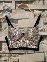 2020 wspaniały koralik z cyrkonią gorset perły diament Push Up Night Club Bralette biustonosz damski krótki Top Plus rozmiar