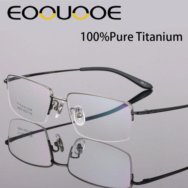 30cb7fd2632 EOOUOOE Brand Optical 100% Pure Titanium Metal Men Quality Opticas Male  Eyeglass Oculos Eyewear Optician Gafas Glasses Frame