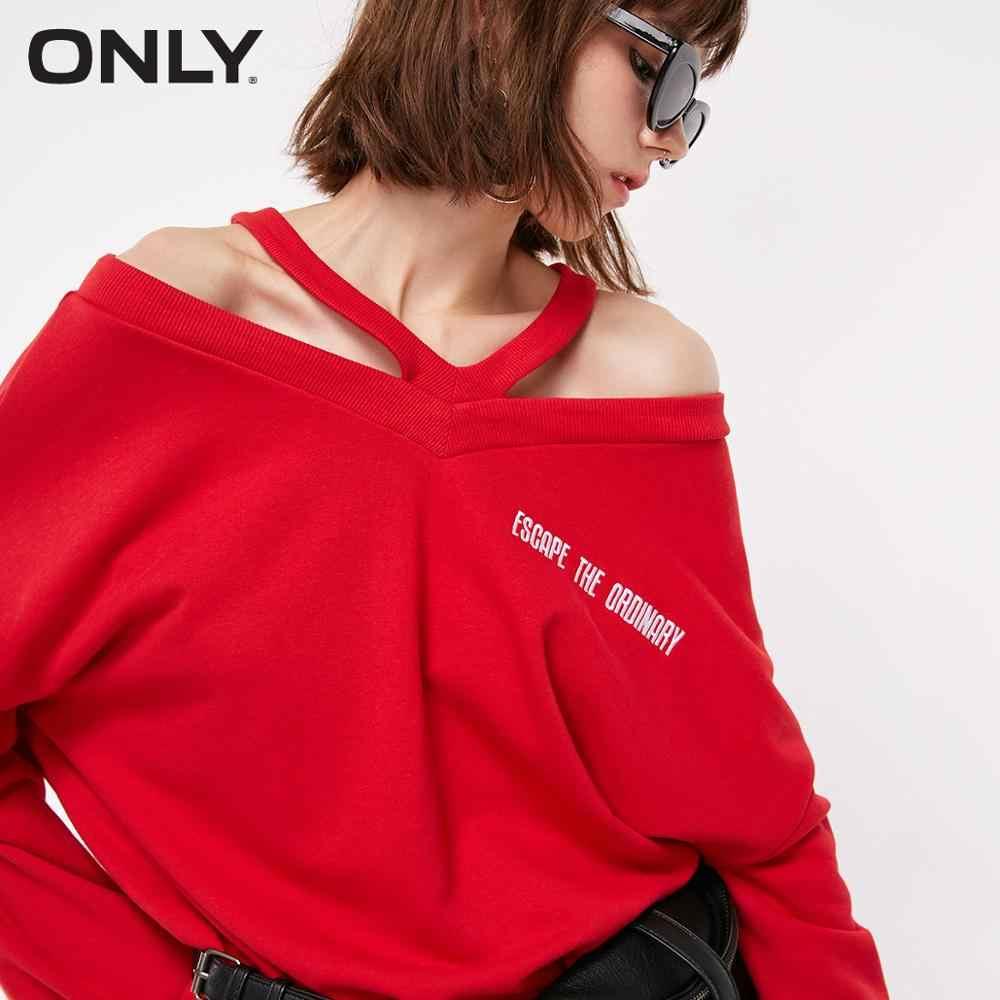 Tylko damska bluza z nadrukiem w kształcie litery V z odkrytymi ramionami | 11849S519