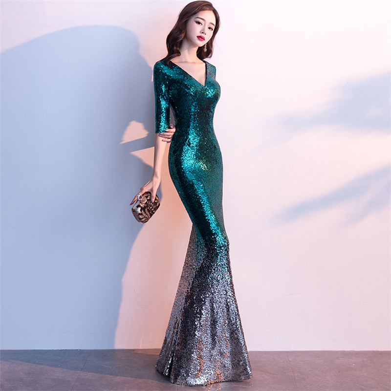 Image 2 - It's Yiiya Sequined Prom dress V neck half sleeve long shinny party Gowns Floor length zipper back Mermaid evening dresses C077-in Evening Dresses from Weddings & Events