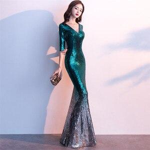 Image 2 - זה Yiiya נצנצים שמלה לנשף V צוואר חצי שרוול ארוך shinny המפלגה שמלות באורך רצפת ציפר חזור בת ים ערב שמלות C077