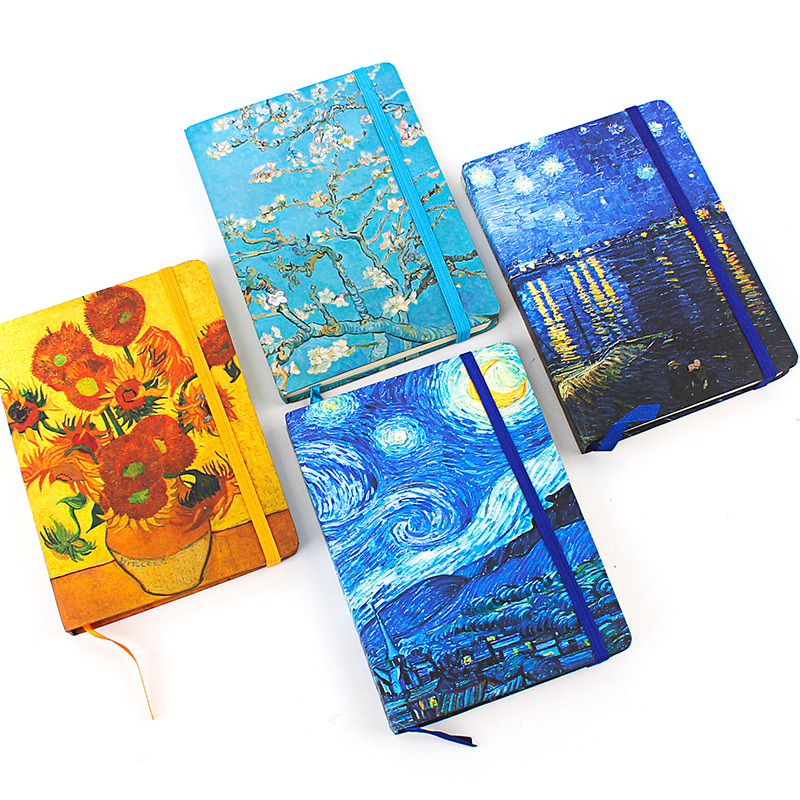 Hard Cover Van Gogh Painting Starry Night Notebook Simple Line Ruled Dotted Bullet Journal Bujo Notebooks Writing Pads dotted notebook stationery core business drawing chart bullet journal bujo notebooks writing pads