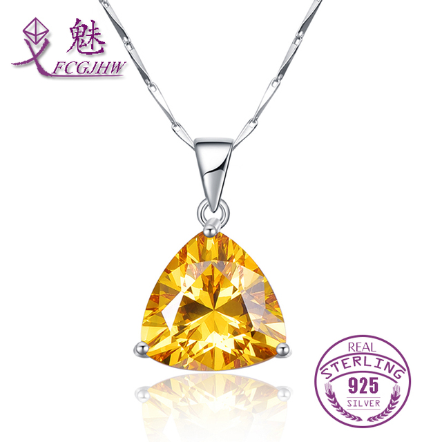 Fine Jewelry Genuine Citrine Sterling Silver Pendant Necklace qshxHKus0