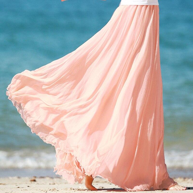Sherhure 19 High Waist Women Chiffon Long Skirts Floor Length Ruffles White Summer Boho Maxi Skirt Saia Longa Faldas 20