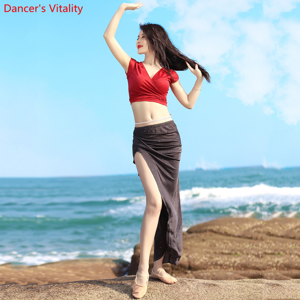 Belly Dance Practice Clothes New Summer Color Blocking Cotton Training Outfits Top Skirt Indian Oriental Dancing Perforamnce Set