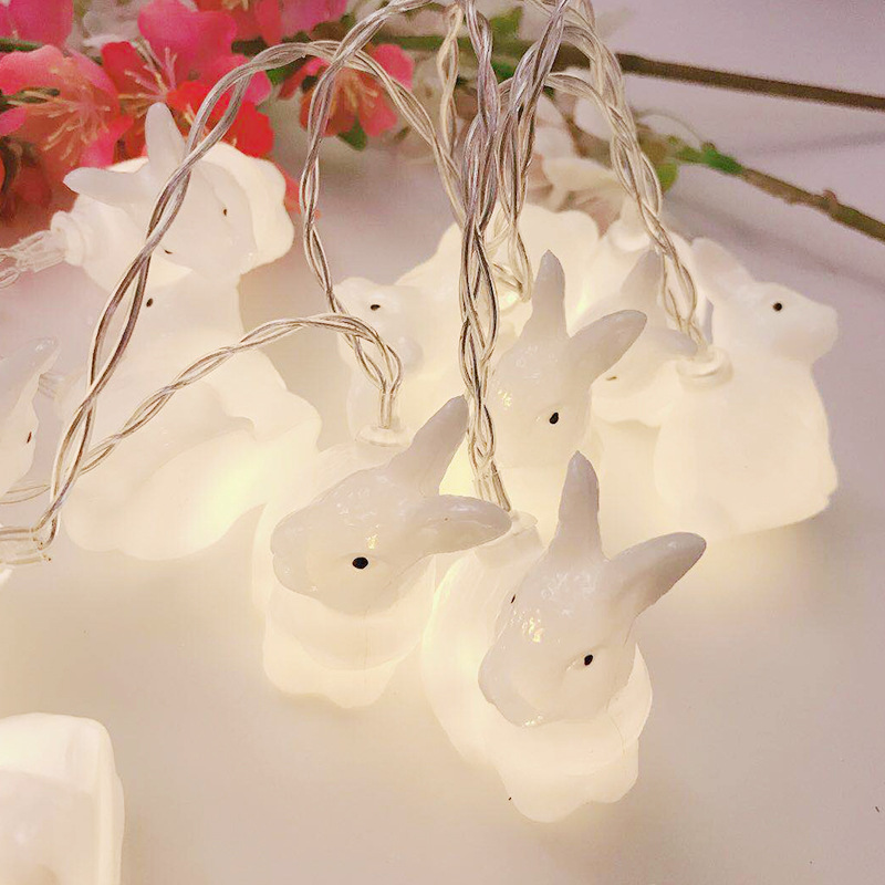 INS LED Rabbit Lamp Battery Powered Cute Animail Night Light String Fairy Garlands For Christmas Holiday Baby Children's Room