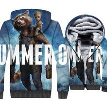 I am Groot Rocket Jacket Men Super Hero Hoodie Funny Sweatshirt Winter Thick Fleece Warm Zipper 3D Coat The Avengers Streetwear цена и фото