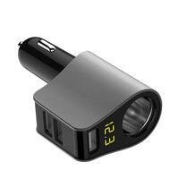 2017 LED Digital Display 3 USB Car Charger Cigarette Lighter Adapter Charging For IPhone Samsung Universal