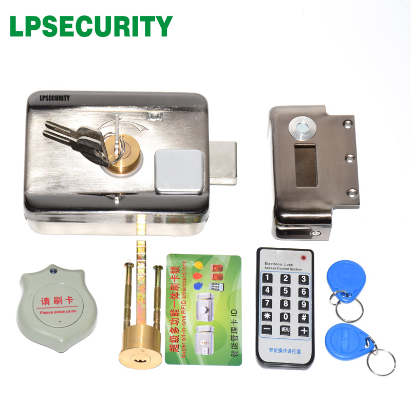 LPSECURITY outdoor use home factory gate electric gate door lock castle with EM 125KHZ RFID reader 10 tags or 2 tags