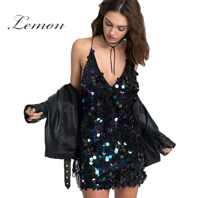 e0ee318afe Lemon 2018 Sequin Dress Women Punk Purple Spaghetti Strap Bodycon Mini  Dress Deep V Neck Sleeveless Backless Sexy Dress