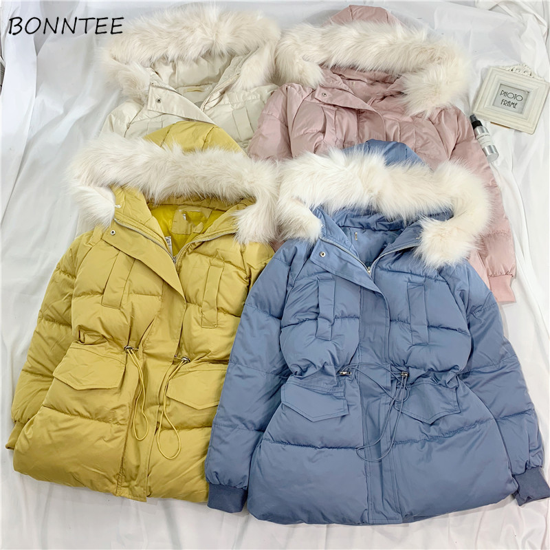 Parkas   Women Winter 2019 Simple Warm Soft All-match Short Style Lovely Womens Outwear Long Sleeve Hooded Slim Ladies Overcoats