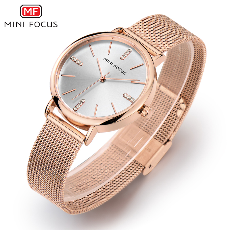 MINIFOCUS Top Brand Luxury Women Watch Fashion Stainless Steel Bracelet Watch Rose Gold Silver Ladies Quartz Waterproof Clock kimio brand rose gold luxury slim bracelet ladies casual business waterproof clock women dress stainless steel mesh quartz watch